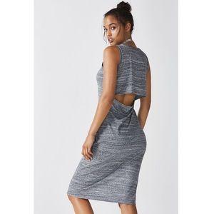 Fabletics Grey Eileen Open Back Midi Dress Small